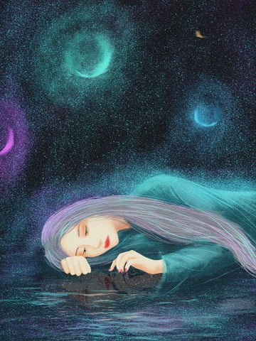 Healing starry sky girl original illustration, Healing, Starry Sky, Teenage Girl illustration image