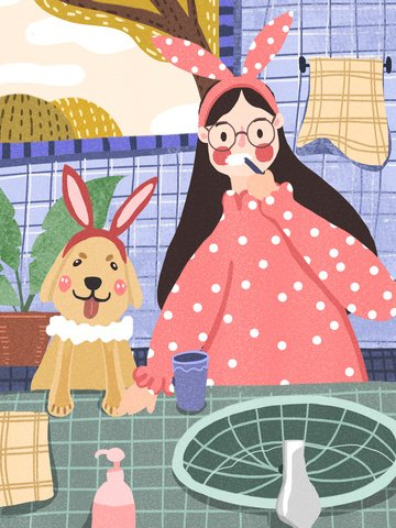 hello good morning girl dog brushing time illustration image