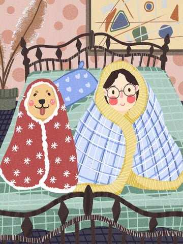 good morning hello girl cute dog wrapped in quilt llustration image