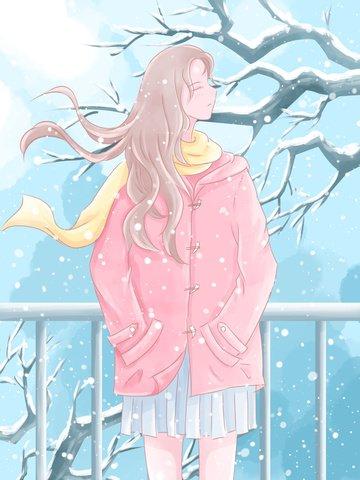 fille de cheveux longs décembre dans la neige illustration aquarelle image d'llustration