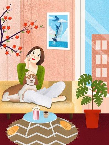Счастливое время жирного дома сопровождает хозяин Ресурсы иллюстрации Иллюстрация изображения