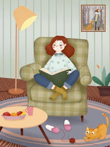 House life House girl character Fresh, Beautiful, Macaron Color, Teenage Girl illustration image
