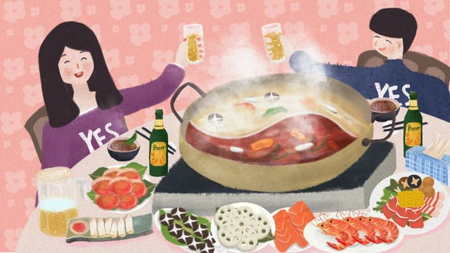 simple illustration of winter food to eat hot pot llustration image illustration image
