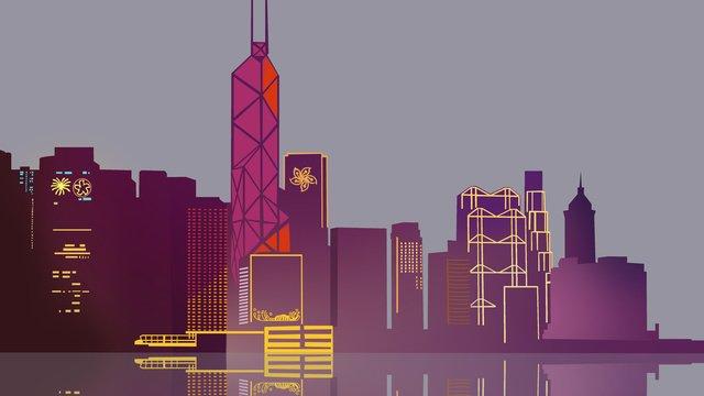 홍콩 랜드 마크 실루엣 일러스트 삽화 소재