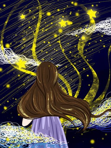 Girl illustration under the starry sky, Illustration, Painting, Matching illustration image