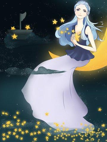 スターガール和風イラストイラスト  シーン  星空 PNGおよびPSD illustration image