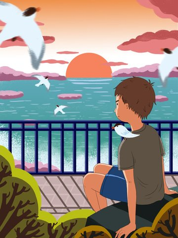 good morning hello little boy sitting at the beach watching sunrise llustration image illustration image
