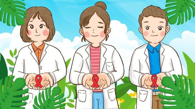 ngày quốc tế aids các bác sĩ chăm sóc vẽ tay minh họa gốc Hình minh họa Hình minh họa