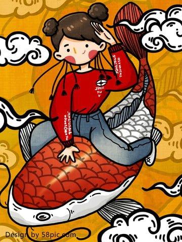 鯉の元の手で鯉積み替え潮漫画少女手描きイラスト イラスト画像