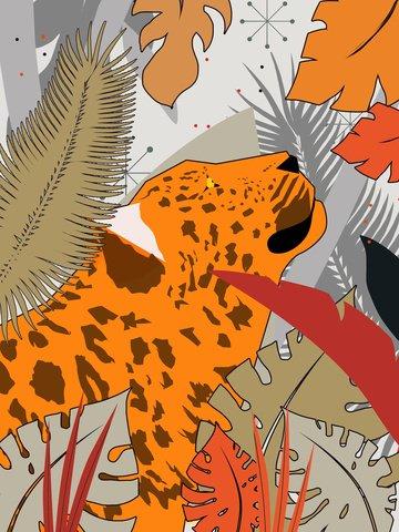 Original card ventilation illustration natural imprint of the leopard, Leopard, Leopard, Rainforest illustration image