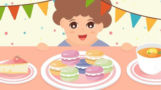 Little boy kneeling on the table eating dessert gourmet macaron vector illustration, Little Boy, Eat, Dessert illustration image