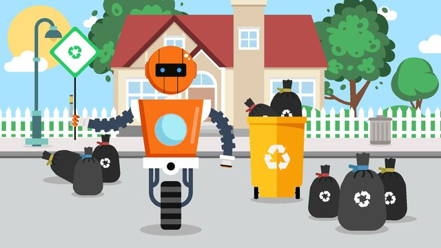 Environmentally friendly robot garbage classification reminder, Love, Surroundings, Environmental Protection illustration image