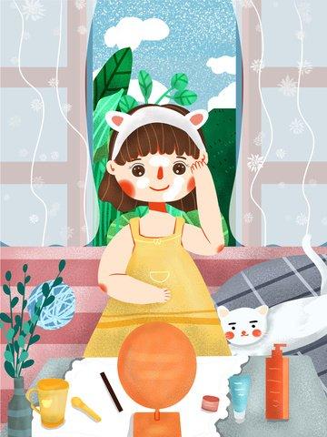 귀여운 만화 소녀 신선한 피부 미용 스킨 케어 삽화 이미지