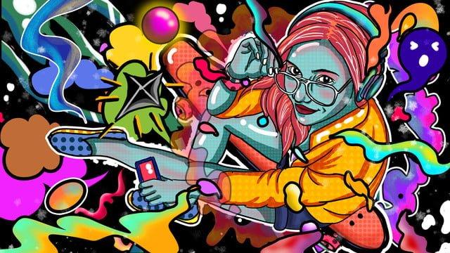モバイルキャンディーカラースケートボードガールクールカラフルストリートポップカラー イラスト素材 イラスト画像