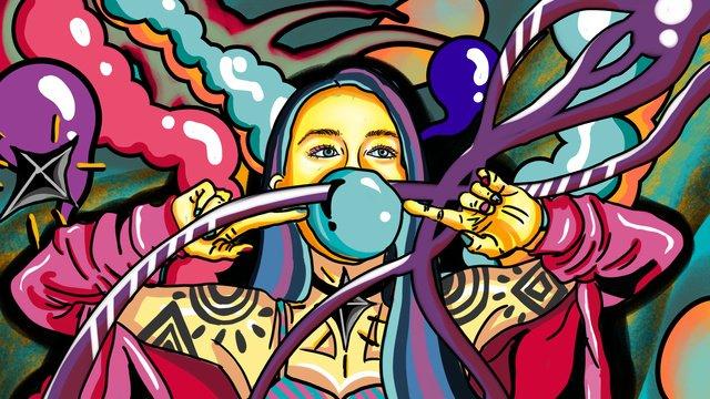 流れるキャンディーカラーの野生のゴージャスなタトゥーファッションファッションバブル女の子を吹いて イラスト素材 イラスト画像