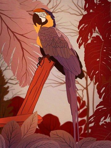 impressão natural da ilustração de moda ramo papagaio selva Material de ilustração