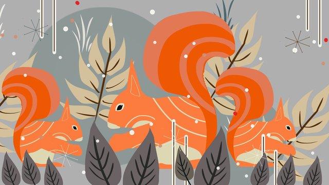 Natural imprint of squirrels foraging in winter, Natural Imprint, Animal, Winter illustration image