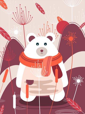Natural imprint of love between bears and plants, Natural Imprint, Animals And Plants, Big Bear illustration image
