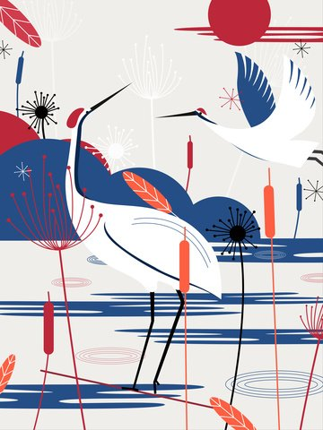 Harmony painting of natural imprinted cranes and plants llustration image