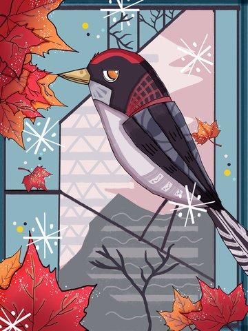 Natural imprint of maple leaves and birds original hand drawn illustration, Natural Imprint, Bird, Maple Leaf illustration image