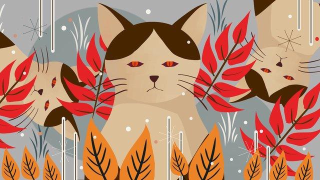 gato sério na floresta de impressão natural Material de ilustração