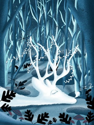 Natural imprint deer elf cure illustration, Natural Imprint, Forest, White Deer illustration image