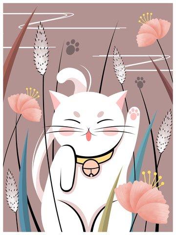 gato de ilustração impressão natural em flores Material de ilustração Imagens de ilustração