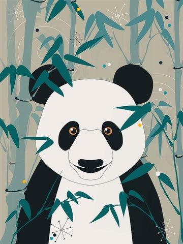 impressão natural de panda gigante e ilustração vintage bambu Imagens de ilustração