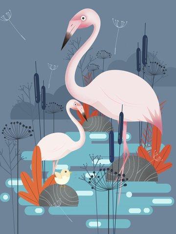 tendência impressão natural planta flor caricatura animal ilustração Material de ilustração Imagens de ilustração