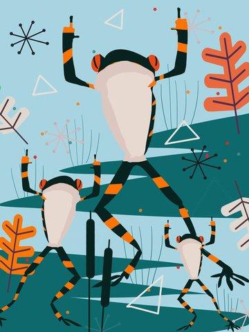 rã de dança lagoa impressão natural Material de ilustração