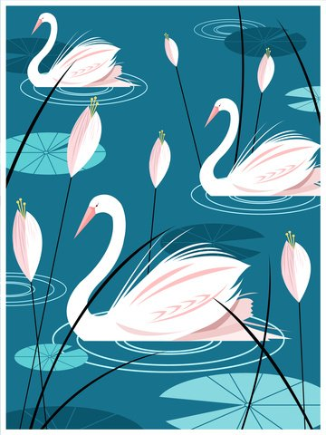 Natural imprint illustration of a swan in the lake, Natural Imprint, Swan, Lake illustration image