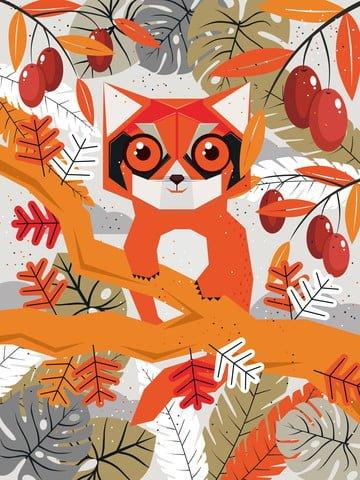 Original hand-painted illustration of the natural imprint raccoon, Natural, Natural Imprint, Leaves illustration image