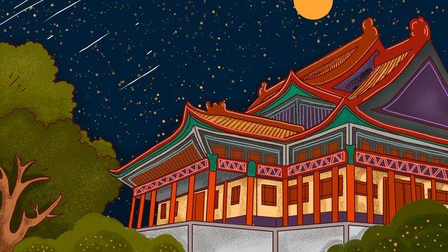 Китайский стиль архитектуры в стиле ретро Ресурсы иллюстрации
