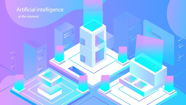 Artificial intelligence 2.5d small fresh breathable illustration, Original, Business Illustration, Wallpaper Poster illustration image