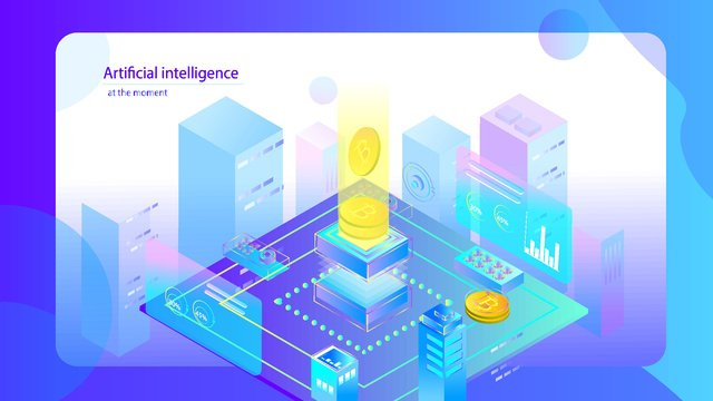 Artificial intelligence 2.5d virtual currency small clear scene, Original, Business Office, Artificial Intelligence illustration image