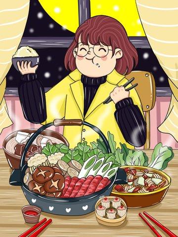 Original winter food hodgepodge cartoon illustration, Original, Cartoon, Illustration illustration image