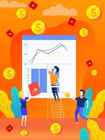 Original hand drawn illustration Financial management Flat wind gold, Red Envelope, Ladder, The Man illustration image