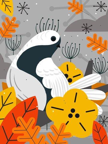 Original tendência natural impressão pássaro mão ilustrações desenhadasOriginal  Tendência  Natural PNG E PSD illustration image