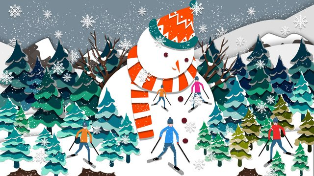 paper cut wind people skiing on the big mountain illustration llustration image illustration image