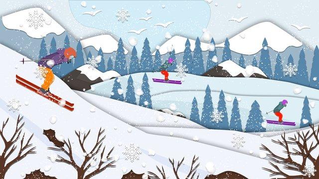 山でのペーパーカット風スキー イラスト素材