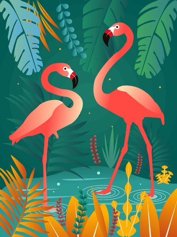 Flamingo natural imprint trend plant illustration, Plant, Flamingo, Natural illustration image