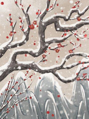 冬季梅花復古水墨插畫 插畫素材