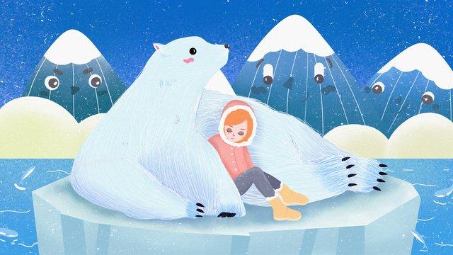 겨울 속삭임 북극곰과 어린 소녀 삽화 소재