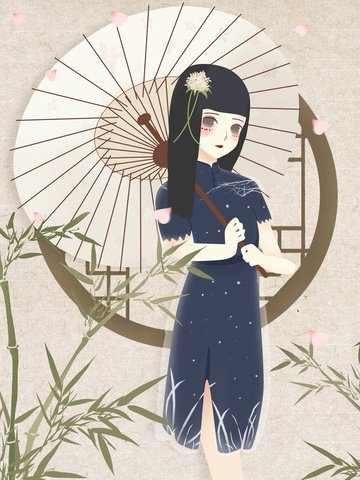 Republic of China Female student cheongsam illustration, Lovely, Bamboo, Classical illustration image