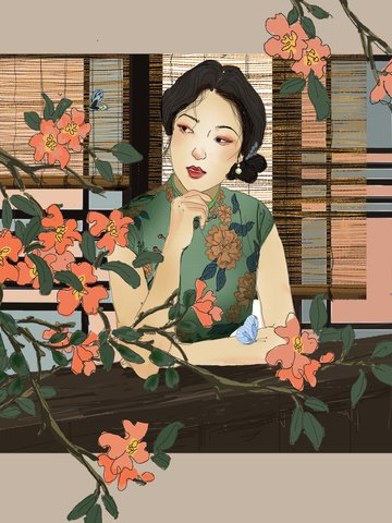 Republic of China Retro Hand Painted illustration, Woman, Flowers, Plant illustration image