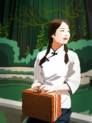 Republic of china retro style illustration the female students leisure time, Republic Of China, Retro, Student illustration image