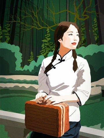 रिपब्लिक ऑफ चाइना रेट्रो शैली चित्रण महिला छात्रों के लिए अवकाश का समयचीन  गणराज्य  रेट्रो पीएनजी और PSD illustration image