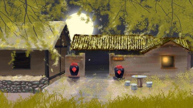 Republic of china retro wind autumn illustration rural villain llustration image illustration image