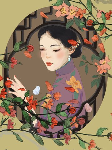 Republic of China Retro woman flowers, Plant, Chinese Style, Avatar Wallpaper illustration image