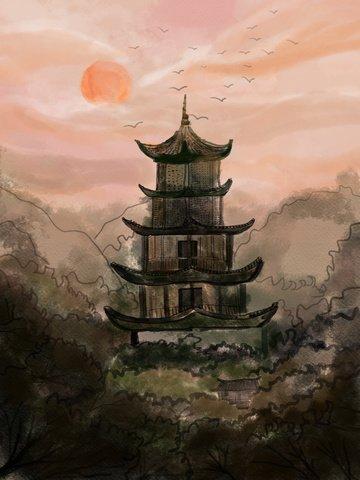 中国風インク古代の塔の図 イラスト素材